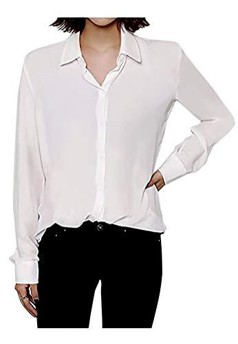 ARJOSA Women's Chiffon Long Sleeve Button Down Casual Shirt Blouse Top (US M/Asian XL, 8 White)