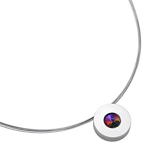 Heideman Halskette Damen Lumen aus Edelstahl silber farbend matt Kette für Frauen mit Swarovski Stein Kristall volcano im Fantasie Edelsteinschliff 10mm
