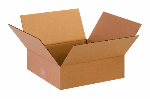 """Aviditi 13134 Flat Corrugated Cardboard Box 13"""" L x 13"""" W x 4"""" H, Kraft, for Shipping, Packing and Moving (Pack of 25)"""