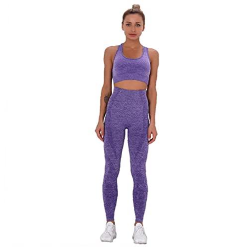 NIDONE Use Yoga Fitness Traje de Deporte Bra Pantalones de Cintura Alta Mujer sin Fisuras púrpura S 2 Piezas
