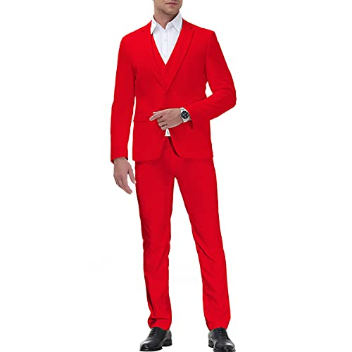 Men Solid Colours Suits 3 Piece Slim Fit Single Breasted One Button Business Tuxedo Groom Wedding Casual Suit Blazer Waistcoat Trousers Red