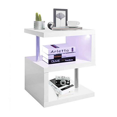 YOLEO Beistelltisch Sofatisch Nachttisch mit LED Couchtisch Betttisch für Wohnzimmer, Schlafzimmer, Flur, Büro 58x44x38 cm (1)