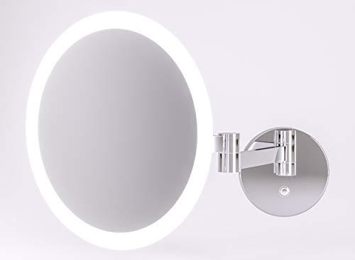 Kosmetikspiegel beleuchtet mit LED - Schminkspiegel TALOS Kreta Ø 25 cm - Rasierspiegel mit 5-facher Vergrößerung - zweistufigem Lichtfarbenwechsler (warmweiße/kaltweiße Lichtfarbe) - Wandmontage