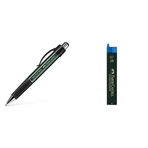 Faber-Castell 140700 - Bolígrafo + 120702 - Minas, 12 unidades, Gris, 2B, 0.7 mm