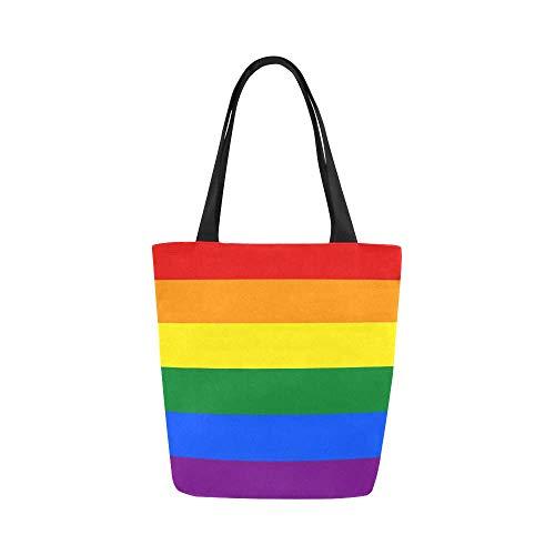 Rainbow Flag Gay Pride Canvas Tote Bag Handbag Purse for Women