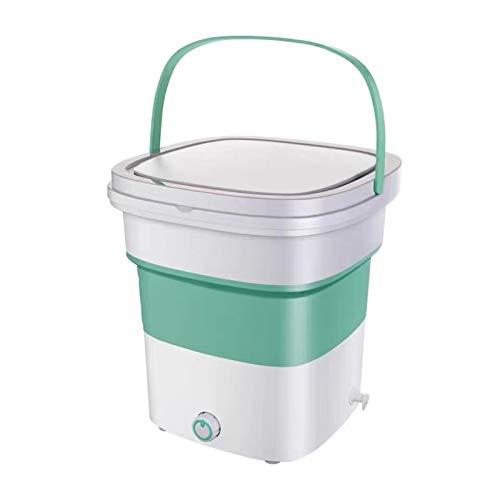 Mini Lavadora 1.8kg Cubo Plegable PortáTil,de Poco Ruido,Regalo para Amigos o Familiares (Verde)