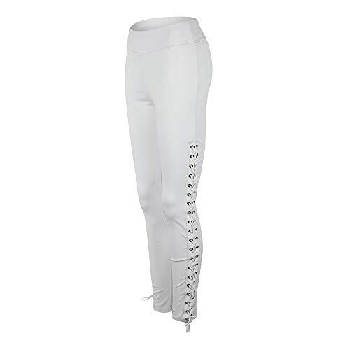 Primavera y Verano Pantalones Delgados Atractivos Señoras Cintura Alta Personalidad Moda Vendaje Deportes Pantalones Casuales