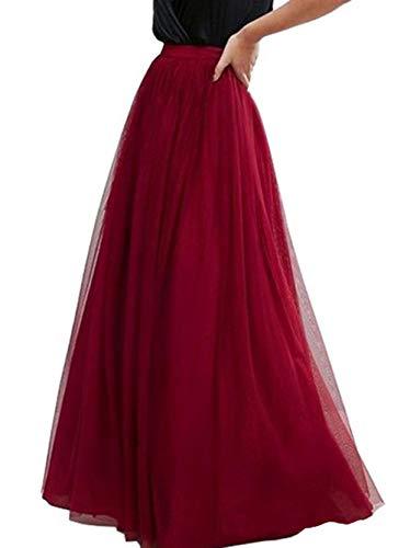 Anikigu Falda de Tul Larga para Mujer Faldas Maxi Elegantes para Bodas, Vino Rojo
