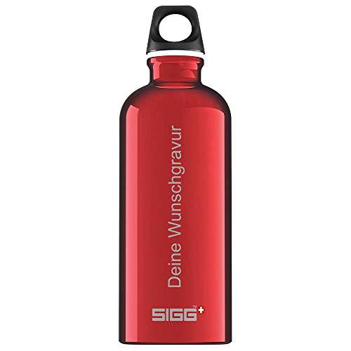 SIGG Trinkflasche e 0,6 Liter in edlem Rot | Leichte Wasserflasche aus Aluminium I BPA frei - Plastikfrei I Auslaufsicher und Kohlensäure geeignet I Sportflasche