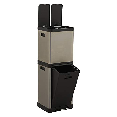 Design Trend Silver Stainless Steel Recycling Trash Can Tower with Multiple Compartments   2 x 8 L & 20 L