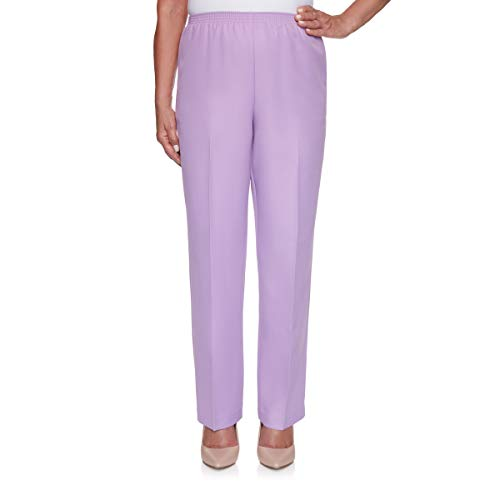 Alfred Dunner Women's Classic FIT Short Length Pant, Wisteria, 10