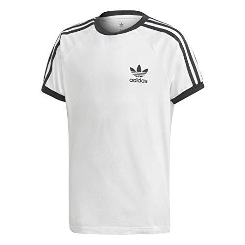adidas Originals Boys' Big 3-Stripes Tee, white/black, Large