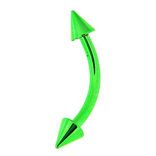 Monster piercing kleurrijk neon geanodiseerd 16 gauge banaan met kegel wenkbrauw piercingsieraad