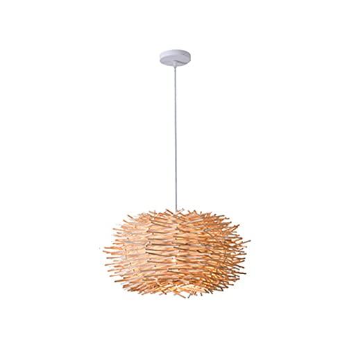Tanktoyd Lámpara de madera nido de pájaro con pantalla de ratán tejida a mano y creativa nórdica, adecuada para el hogar, bar, luces de decoración de hotel, cafeterías, librerías, pasillos, candelabr