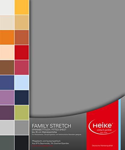 Heike Spannbettlaken Jersey Family Stretch 97% Mako-Baumwolle 3% Elastan Deutsche Markenqualität 230 gr/m2 bis 35 cm Höhe für Wasserbetten Boxspringbetten und herkömmliche Matratzen (Dunkelgrau)