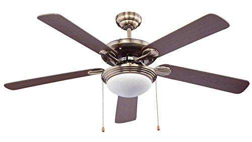 Bastilipo ventilateur de plafond pour 2 ampoules E27, 60 W, Bronze vieilli, 132 x 47 cm