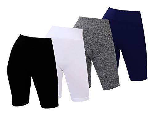 C CRUSH ORIGINAL Paquete de 4 pantalones cortos sin costuras de cintura alta para mujer, yoga, correr, entrenamiento, ropa deportiva, Negro/Heathergrey/Azul Marino/Blanco, S-M