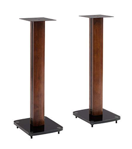 TransDeco Glass Speaker Stand, 30', Dark Oak/Black