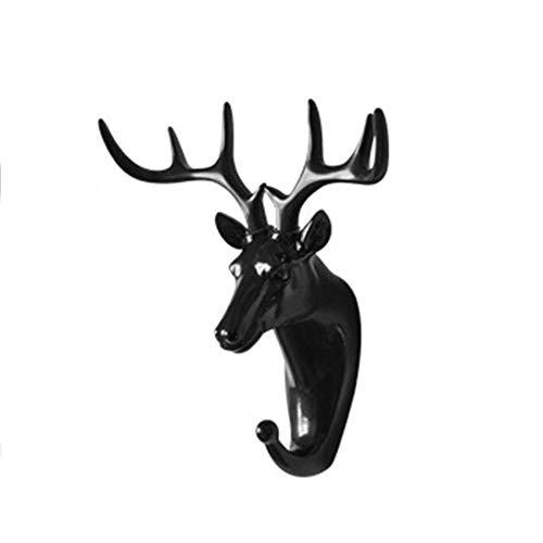 Cabeza Gancho de cabeza de animal, Cabeza de ciervo Ropa Soporte de exhibición Gancho Perchero Rack Cap Interior Decoración Llave del bolso de pared - Negro/Blanco/Dorado