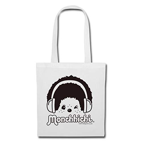 Spreadshirt DJ Monchhichi Mit Kopfhörern Stoffbeutel, Weiß