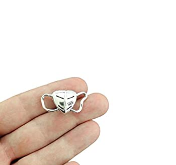 8 Mask Antique Silver Tone Charms - SC3450