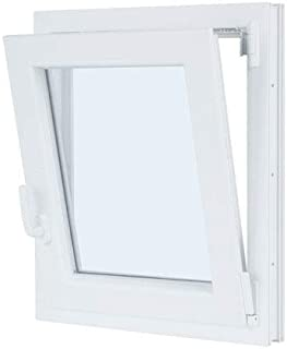 Ventana PVC 50 cm x 50 cm | REGALO Garras de Fijación | Cuarto de Baño | Oscilobatiente | Alto aislamiento termico y acustico | Vidrio Mate | Practicable | Resistente al sol | Apertura Derecha