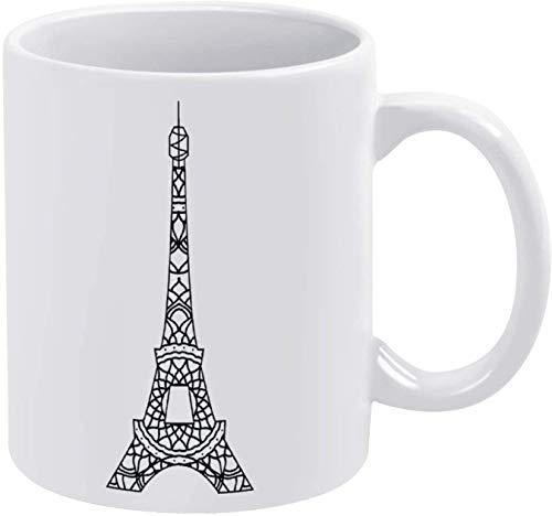 Taza de café bohemia con diseño de mandala, diseño de torre Eiffel