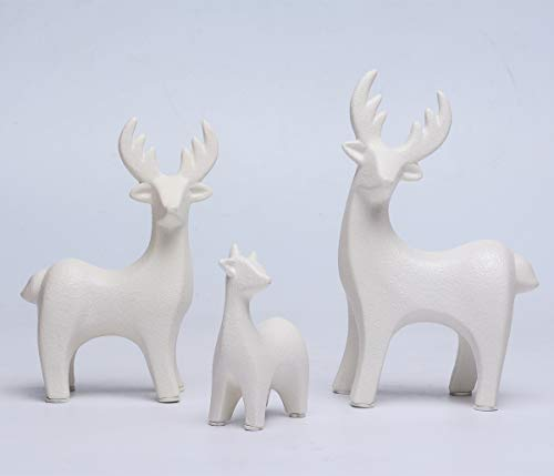 ShuangChuang Elk Ceramic Crafts Animal Ornament Porcelain Decoration Ceramic Deer Set Figurine Reindeer Art Creative Furnishings Ornaments Gift