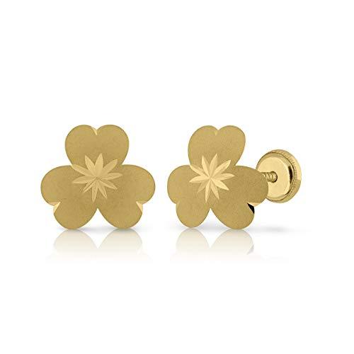 Certified Gold Earrings, Girls/Women, Safety Screw Closure, 9.5 mm (4-4663-10)