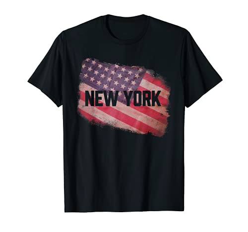 New York   USA American Old Glory Flag Vintage US Souvenir T-Sh