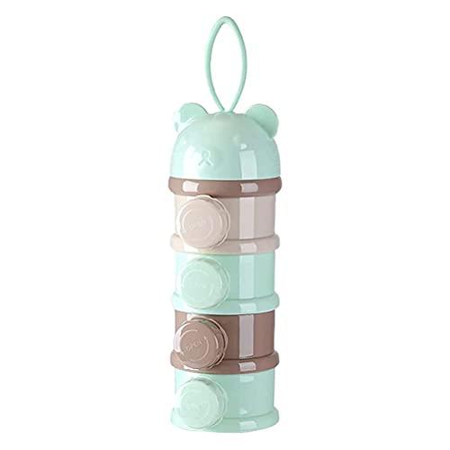 Fencelly Cajas dispensador de leche en polvo, portátil 4 compartimentos contenedor de alimentos para bebés y niños