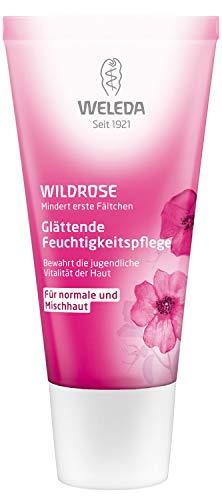 WELEDA Wildrose Glättende Feuchtigkeitspflege, intensiv pflegende Naturkosmetik Gesichtscreme für die Tages- und Nachtpflege, mindert erste Falten und schützt vor Hautalterung (1 x 30 ml)