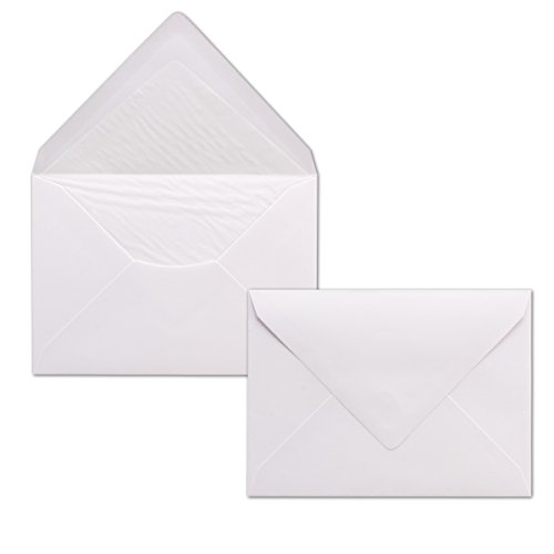 50x enveloppen wit DIN C6 gevoerd met zijdepapier in wit 100 g/m2 11,4 x 16,2 cm met natte kleeflaag zonder venster