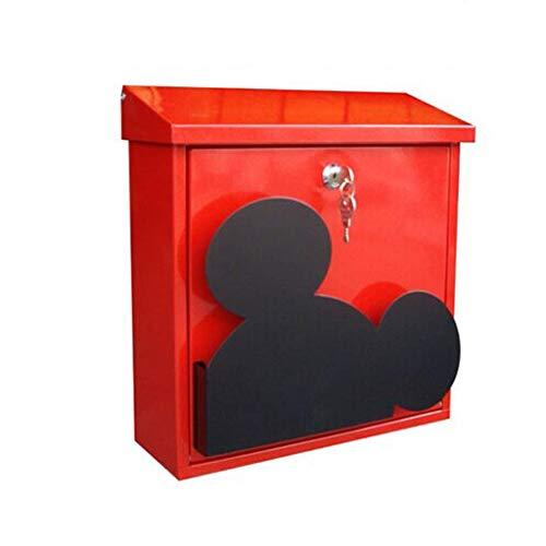 Home Office Muur gemonteerde brievenbus, vergrendeling drop box – metalen winddicht en regendichte brievenbus postdoos, 26 × 8,5 × 35 cm (rood)