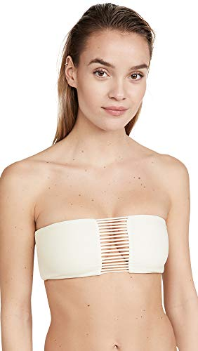MIKOH Women's Sunset Bandeau Bikini Top, Bone, Off White, Large