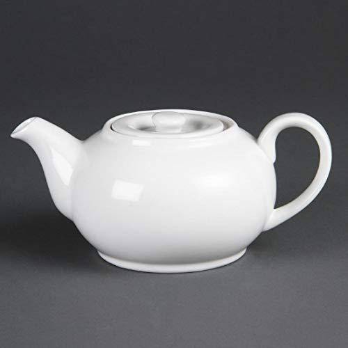Théière Olympia Whiteware 426Ml (2 Tasses) Blanche. Lot De 4. Superposable Résistant Lave-Vaisselle