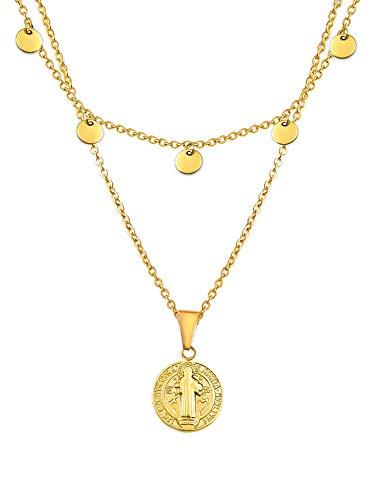 LUAMAYA Ketten Set Beatrisa x San Andres | zwei hochwertige Layer Damen Halsketten aus Edelstahl mit Plättchen und Münz Anhänger in Gold, Silber und Roségold (Gold)