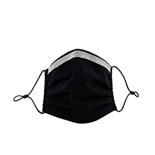 Blingko Erwachsene Männer und Frauen Mundschutz Face Cover Mit Diamant Waschbar Baumwolle Sonnenschutz Verstellbare klappbare Ohrriemen Multifunktionstuch Bandana (I)
