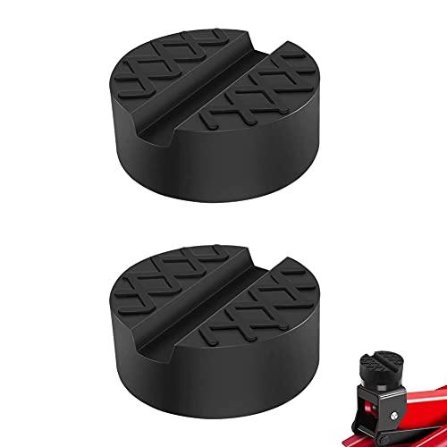 XINYIND 2 Piezas Goma Gato Hidraulico Bloque Universal Protector para Elevador Coche, Almohadilla de Gato para Automóvil con Ranura y Superficie Antideslizante (Negro)