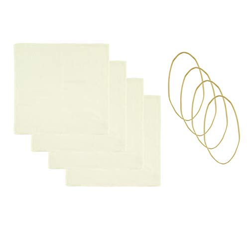 Cornucopia Kombucha Jar Cloth Covers (4-Pack); Unbleached Muslin Cloth Covers with Rubber Bands, Custom Size for Kombucha Jars