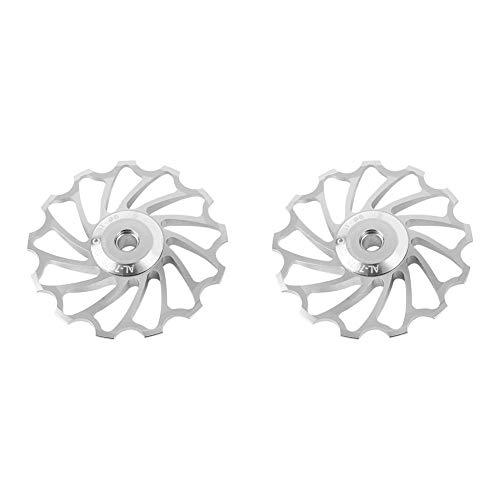 Gancon 2 Stück/Set Keramikscheibe Aluminiumlegierung Schaltwerk Führungsrolle für MTB-Bike(11T-Silber)