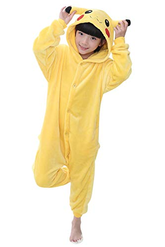 YAOMEI Kinder Unisex Jumpsuits, 2018 Kostüm Tier Onesie Nachthemd Schlafanzug Kapuzenpullover Nachtwäsche Cosplay Kigurum Fastnachtskostuem Weihnachten Halloween (110-120CM(43''-47''), Pikachu)