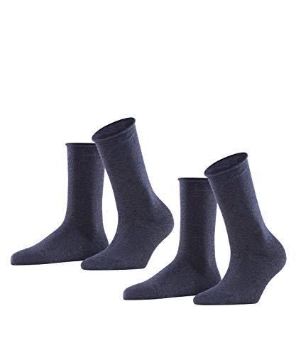 ESPRIT Damen Basic PURE 2-Pack W SO Socken, Blickdicht, Blau (Navy Blue Melange 6490), 35-38 (2er Pack)