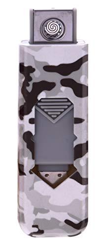 CHAMP Camouflage USB Zünder Feuerzeug No Flame No Gas Wiederaufladbar (Grau)