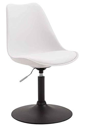 CLP Esszimmerstuhl Maverick Kunststoff I höhenverstellbarer Lehnstuhl I Drehstuhl mit Trompetenfuß I Sitzhöhe von ca. 43-48 cm, Farbe:weiß, Gestell Farbe:Schwarz