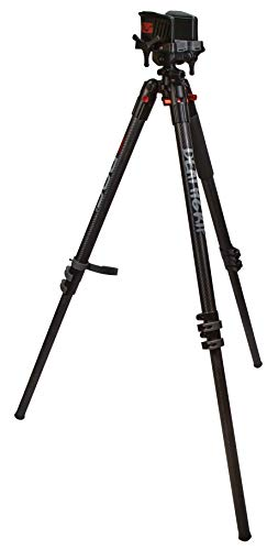Bog DeathGrip Carbon Fiber Tripod with Durable, Lightweight, Stable Design, Bubble Level and Hands-Free Operation for Hunting, Shooting and Outdoors, Black, Height: Up to 72.0""