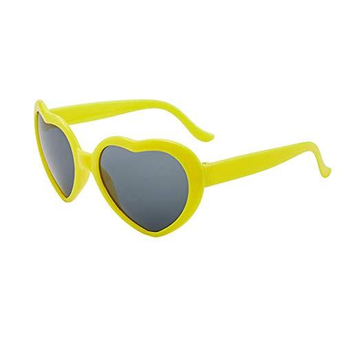 Julhold Sonnenbrille Leichte Brille Schutz Ultraleicht Rahmen Liebesbrille Bei Nacht Herzförmige Lichter Werden Zu Liebes-spezialeffektbrillen Mode Verspiegelt Überziehbrille Blocking Glasses(Gelb)