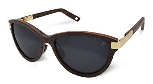 Fento | Lega - Handgefertigte Sonnenbrille aus Holz | Design Holz-Sonnenbrille für Damen | Federscharniere aus Edelstahl | inkl. Brillenetui | Cateye (Wenge - Gold - Grau)