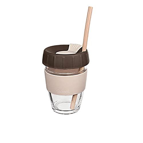Jituan Taza de café de silicona creativa, resistente al calor, antiquemaduras, con tapa, práctica taza de agua de silicona, reutilizable, se puede utilizar con tazas de paja (340 ml)