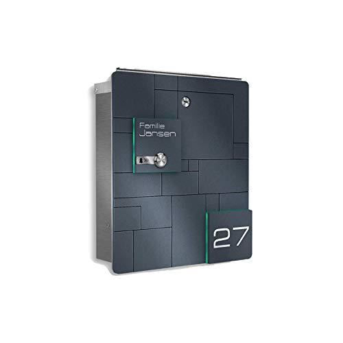 Metzler Design Briefkasten aus Edelstahl mit integrierter Funkklingel - inkl. Gravur - Anthrazit RAL 7016 - Wand-Montage - Größe: 33 x 38,5 x 11 cm